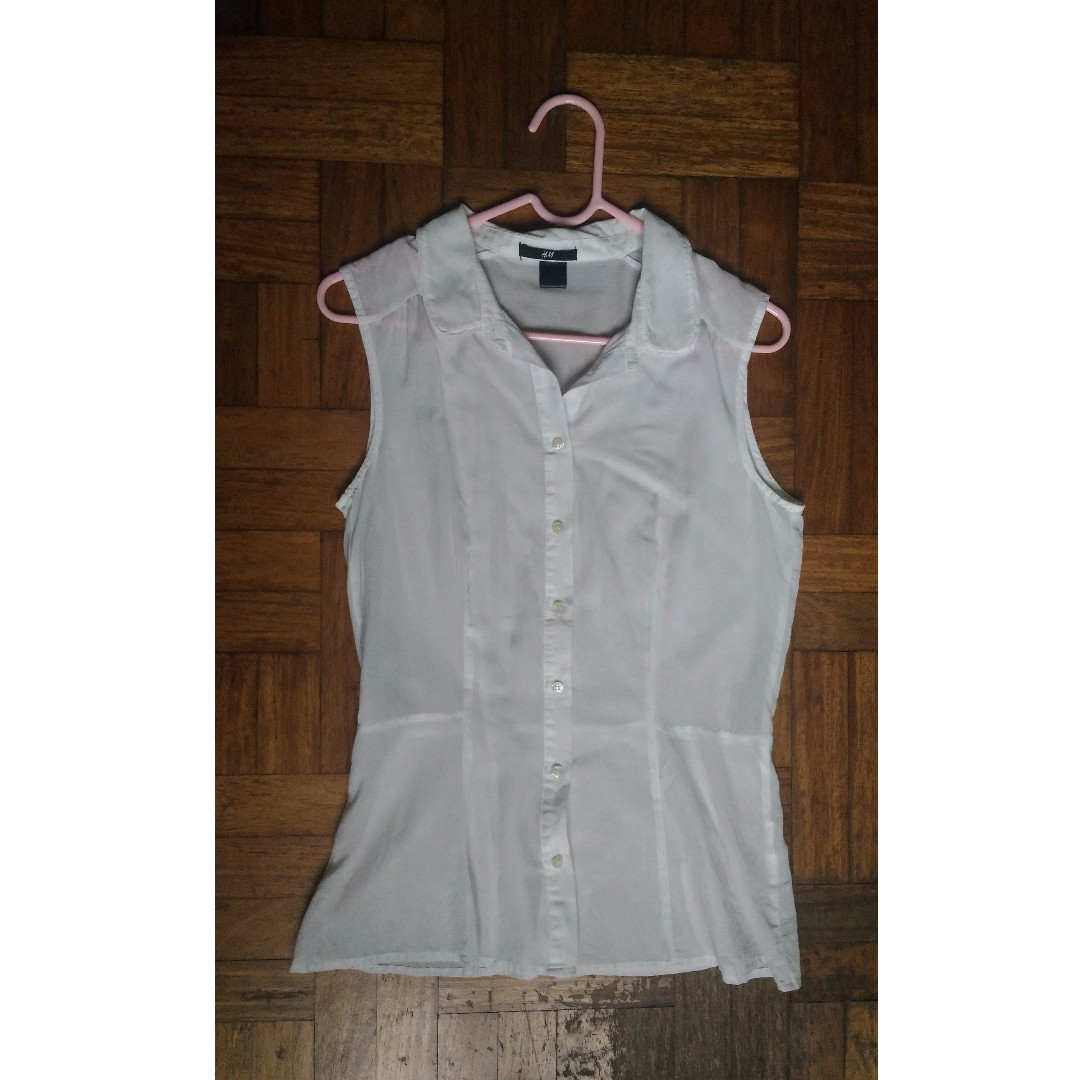 d771e4fd69b954 H M White Sleeveless Peplum blouse