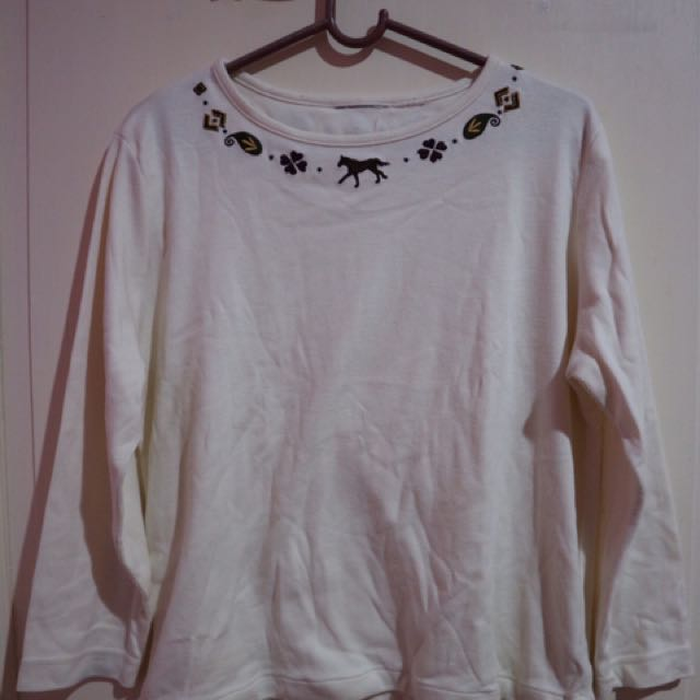 Kaos Lengan Panjang Putih Gading