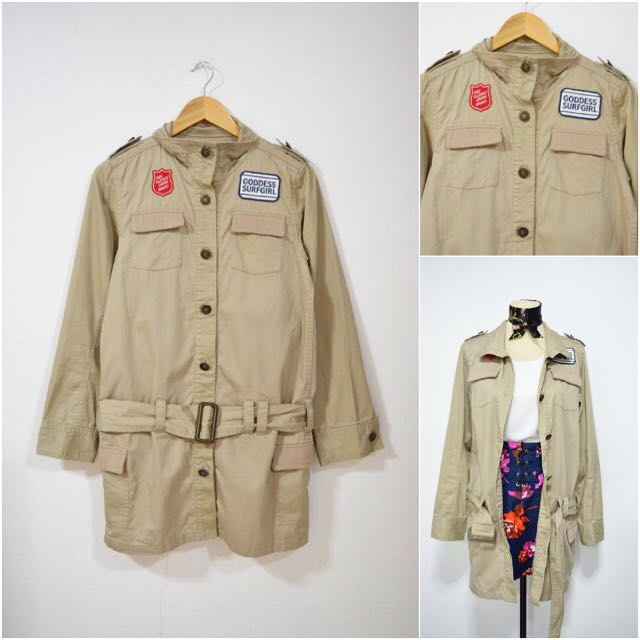 Khaki Parka With Patches
