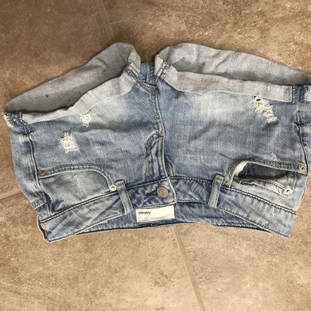 Light Wash Denim Shorts lightly distressed
