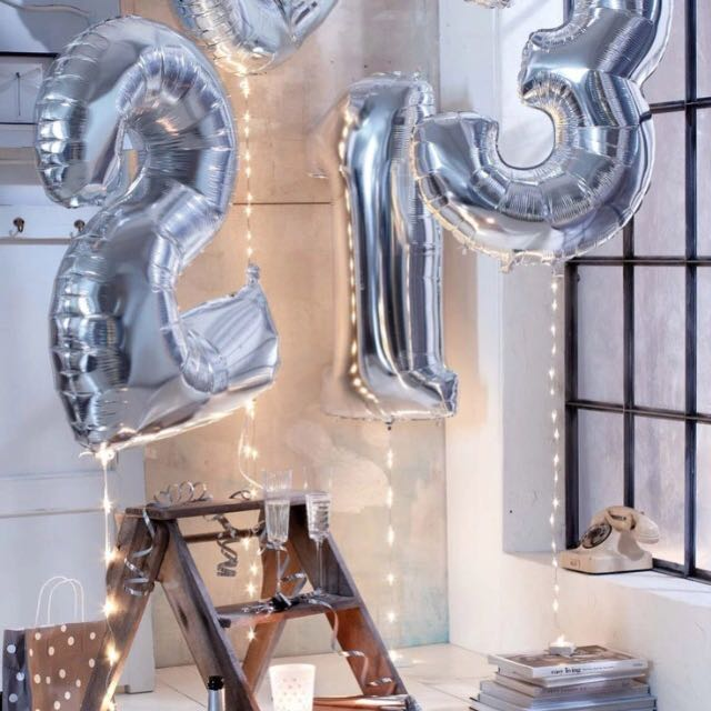Massive Foil Helium Silver/Gold Numbers Balloon