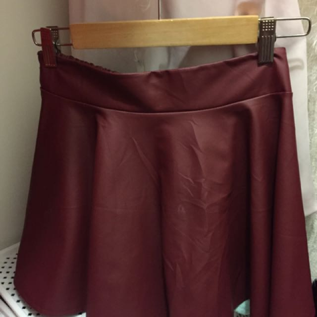 Mini Skirt Red Maroon