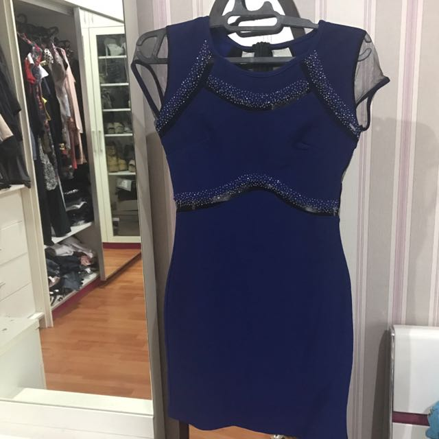 Navy Blue Dress With Sexy Back