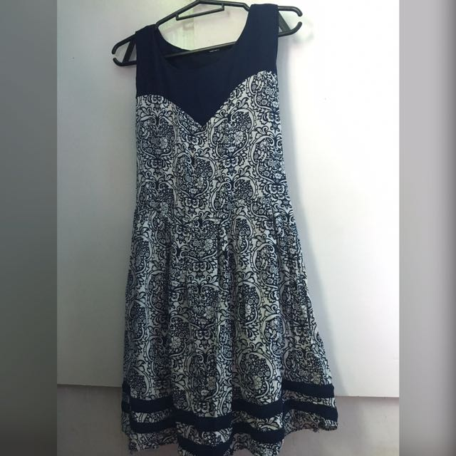 Navy Blue Floral Pattern Dress