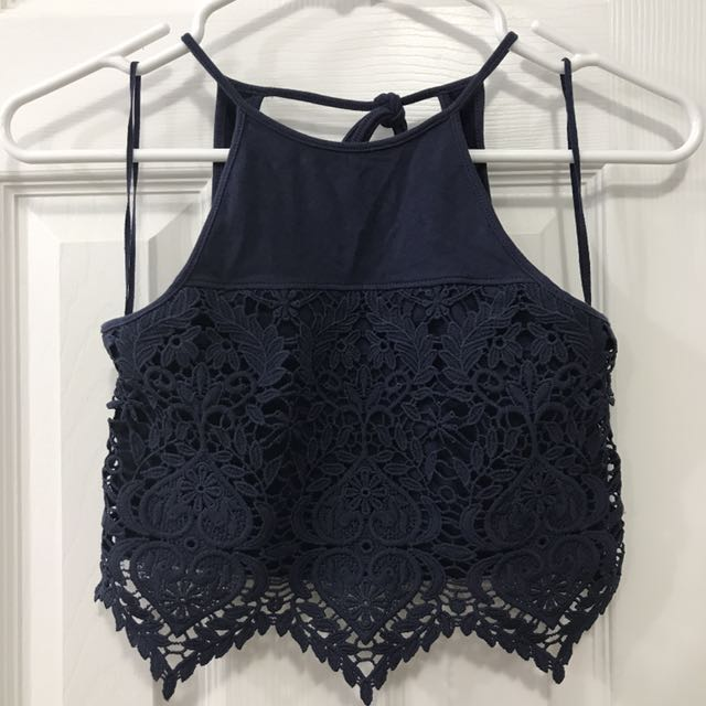 Navy lace cropped halter top