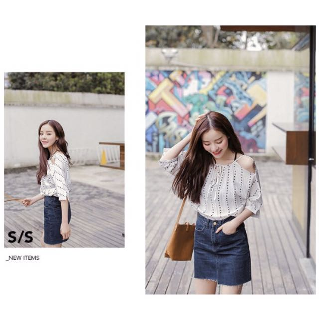 NEW TRENDY FASHIONABLE WHITE COLD SHOULDER SHOULDERLESS CHIFFON SHIRT FORMAL CASUAL PATTERN CUTE HOT PRETTY ELEGANT 3/4 SLEEVE BLOUSE PRINTED