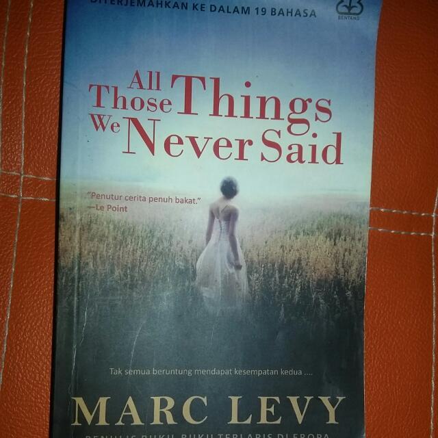 Novel All Those Things We Never Said