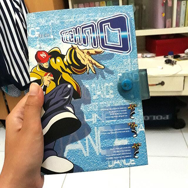 Orji organizer medium binder a6 plus refill kertas file klasik diary hardcover jecky blue
