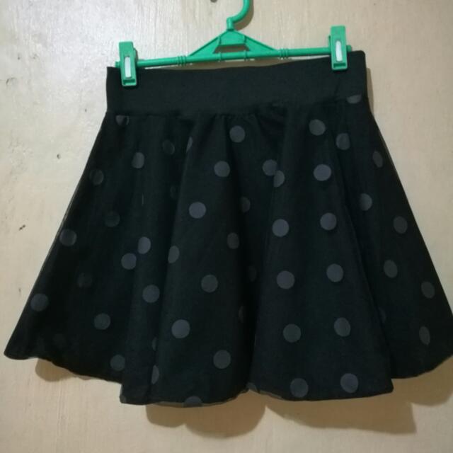 Polka Black Skirt
