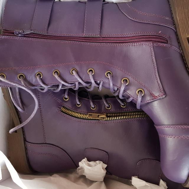 Purple Military Boots