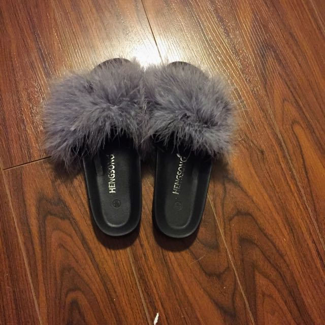 Real Ostrich Feather Slippers