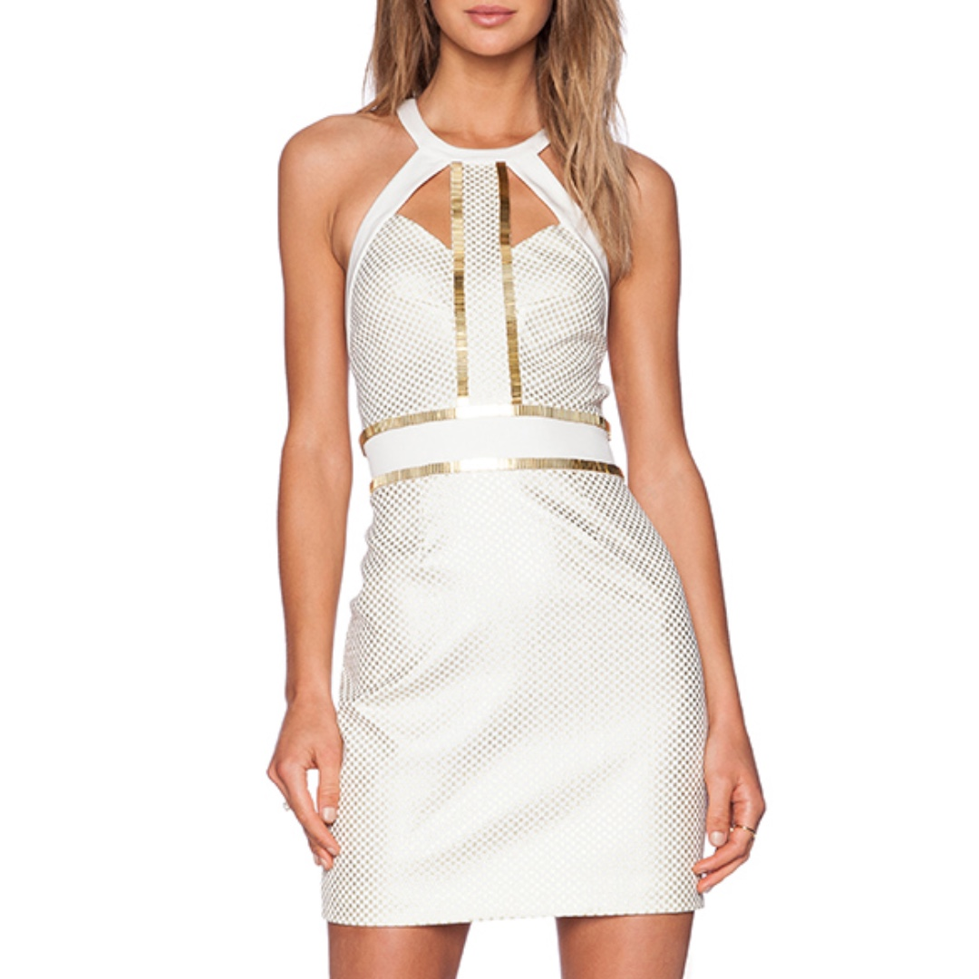 Sass & Bide - You're Everywhere Dress - Size 8 - Ivory/ Gold - BNWT - RRP $650