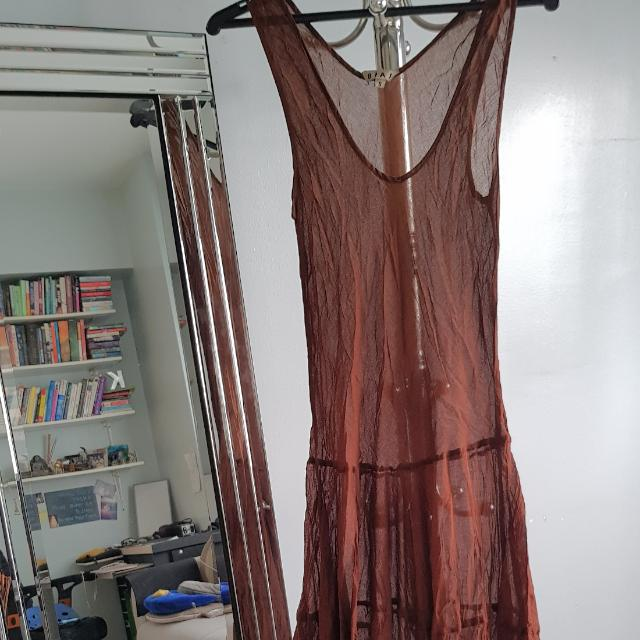 See Through Long Brown Dress