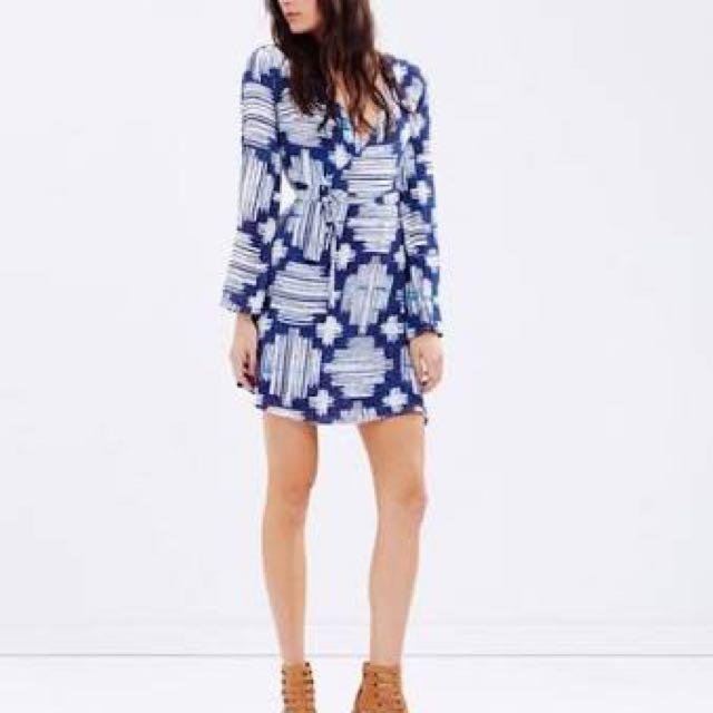 Stevie May Ikat Mini Wrap Dress