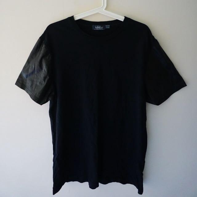 Topman Black Leather Sleeve Tee