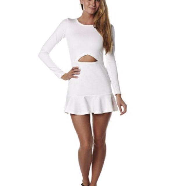 White Dress Cut Out Long Sleeve Size 10