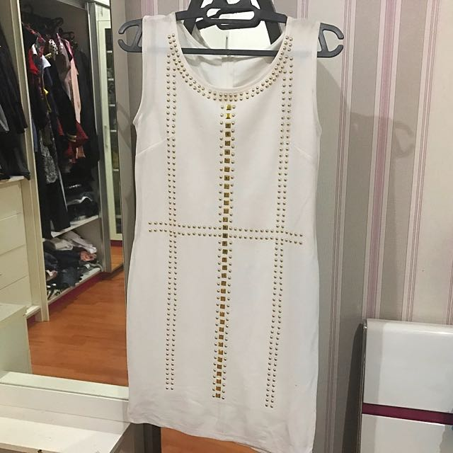 White Dress With Gold Motif