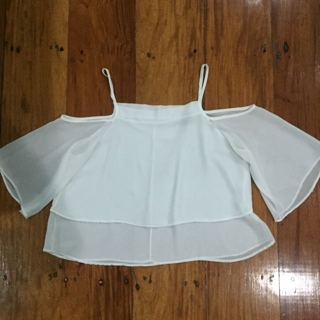 White Top Cut Off Sleeves