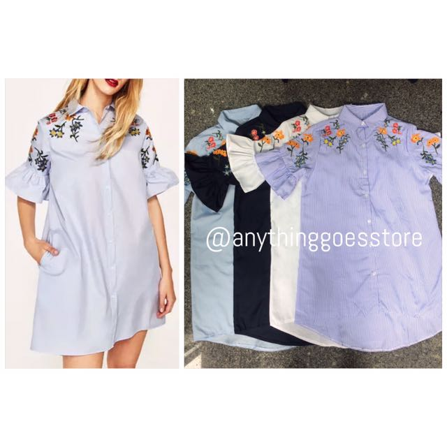 Zara-inspired Poplin Dress with Floral Embroidery with Frilled Sleeves