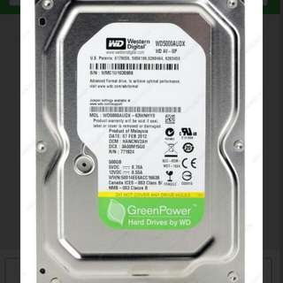 Hardisk/ Harddisk/ Hard Drive WD Green 500Gb 3.5inch For CCTV Or PC