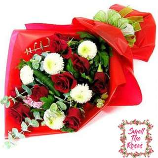 """Love conquers all"" Designer bouquet - 8 Stalk Red Roses & 5 stalks of Ping Pong  + FREE DELIVERY"