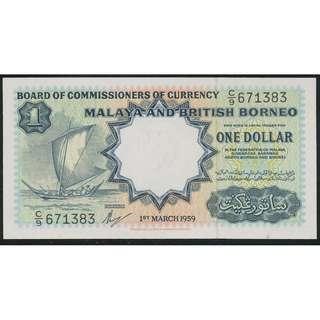 $1 1959 Malaya and British Borneo Currency [C/9] [AU]