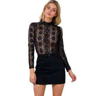 Solid black Long Sleeve Lace Blouse Hollow Out Tops