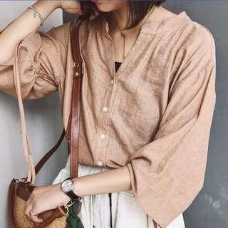 阿綢家 | 半開領寬袖綁帶抽繩設計絲麻雪紡質上衣