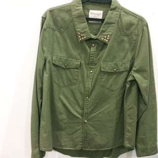 Green Army Studed Old School Grunge