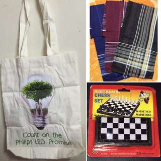 50 Pesos SALE!! Ecobag/shopping Bag, Handkerchief Set, Chess Board