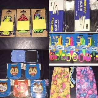 50 Pesos SALE!! Post It/sticky Notes Wit Ballpen Set, Mirror With Comb Set, Craft Scissors, HBW Stapler, Cellphone Pouch