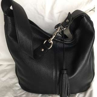 Coach Avery Black Leather Shoulder Bag
