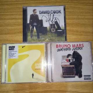 Bruno Mars And Signed David Cook Albums