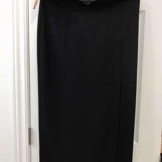 Vintage Black maxi skirt with slit