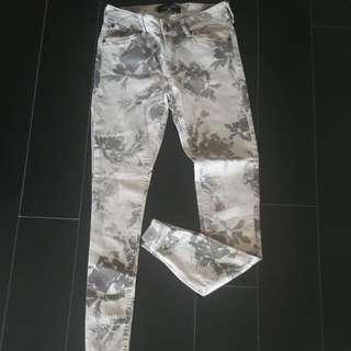 Grey Floral Print Skinny Jean