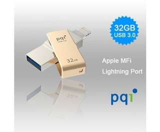 PQI iConnect Mini 6I04-032GR2001 Gold [Apple MFi] 32 GB Mobile Flash Drive w/ Lightning Connector for iPhones iPads Mac & PC USB 3.0 (6I04-032GR2001)