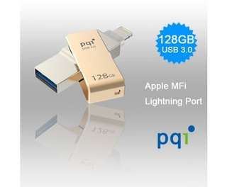 PQI iConnect Mini 6I04-128GR2001 Gold [Apple MFi] 128 GB Mobile Flash Drive w/ Lightning Connector for iPhones iPads Mac & PC USB 3.0 (6I04-128GR2001)