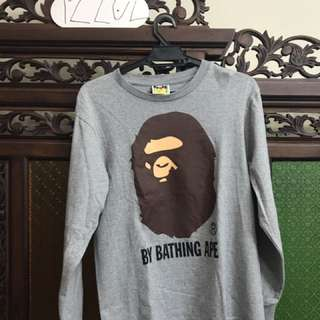 bape long sleeve grey t shirt