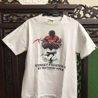 bape x street fighter ryu white t shirt