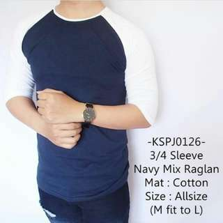 3/4 Sleve Navy Mix Raglan