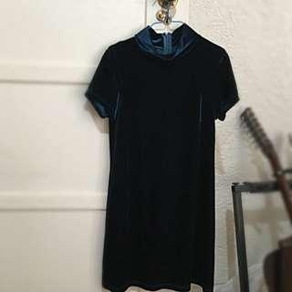Blue Velvet Mock Neck Dress