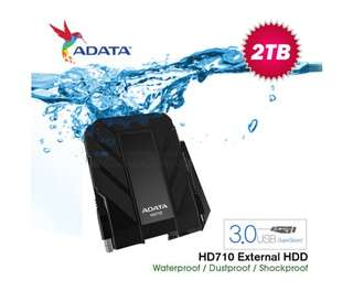 AHD710-2TU3-CBK ADATA HD710 Waterproof/Dustproof/Shock-Resistant 2TB USB 3.0 External Hard Drive- Black
