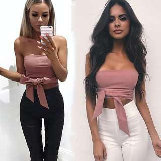 Pink Strapless Zipper Back Lace Up Sexy Crop Top Size 8