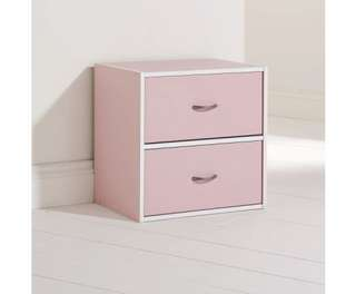 Storage Cube with 2 Drawers in Pink