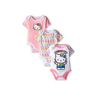 Hello Kitty By Sanrio Baby Girls' 3-piece Value Pack Bodysuits, 6-9 months