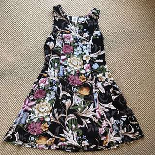 Black Flower Skater Dress