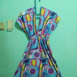 Dress Motif Abstract  VNECK