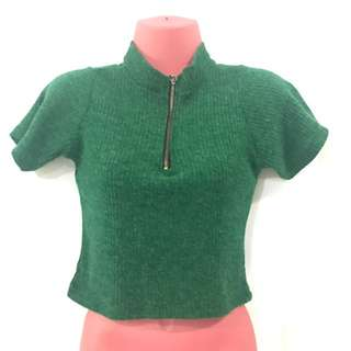 Green Knitted Crop Top