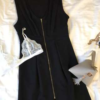 F21 Simple Black Dress With Zipper