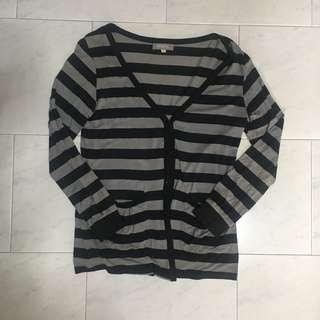 Black Grey Striped Cotton Cardigan Jacket